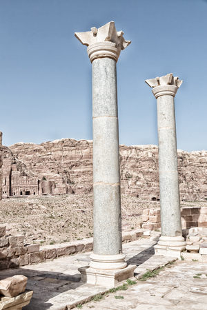 in petra jordan the view of the monuments from the ruins of the antique church Stock Photo