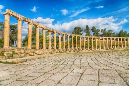 corinthian column: in jerash jordan the antique archeological site classical heritage for tourist Stock Photo