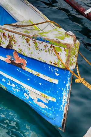 navy blue background: philippines old dirty prow of a boat in the port like abstract Stock Photo