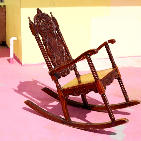 in  philippines old dirty terrace whith rocking chair empty