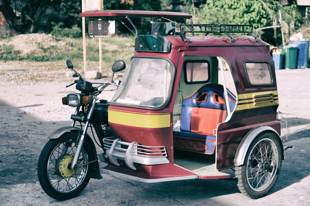 in asia philipphines the typical tuk tuk motorbike for tourist