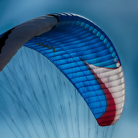kite surfing colors in the sky background Stock Photo