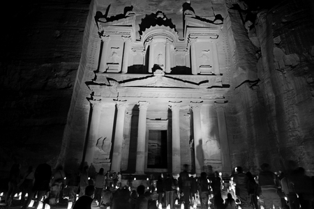 the antique site of petra in jordan the beautiful wonder of the world at night Editorial