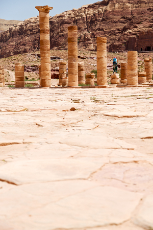colonnaded: in petra jordan the antique street full of columns and architecture heritage