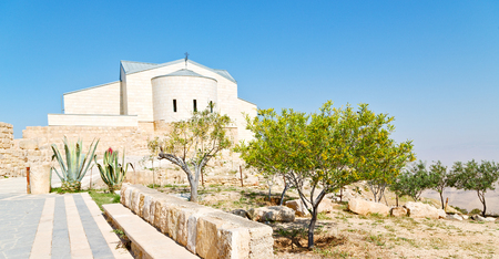 in the antique monastery religion site of mount nebo in jordan   Stock Photo