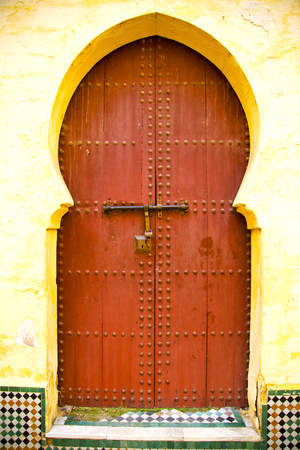 historical in  antique building door morocco style africa   wood and metal rusty Stock Photo