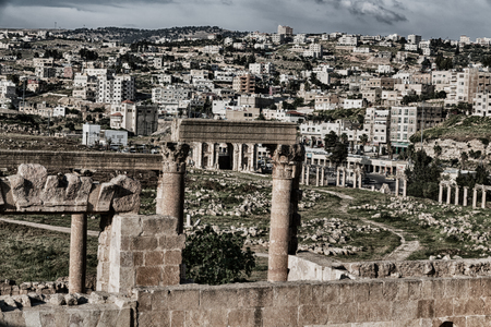 corinthian column: in jerash jordan the antique archeological site classical      heritage for tourist