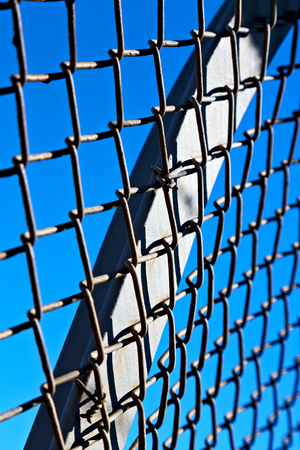 abstract texture of a metal grid surface   like background in the sky Stock Photo