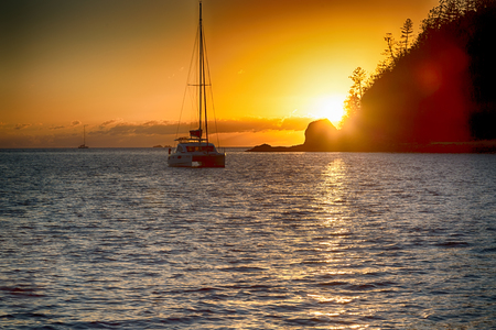 in australia boat and sunrise in the sea of Whitsunday Island like paradise concept and relax Stock Photo