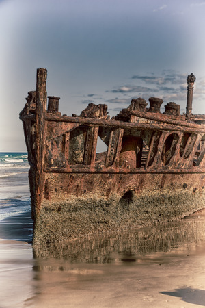 in australia fraser island the antique rusty and damagede boat and  corrosion in the ocean sea