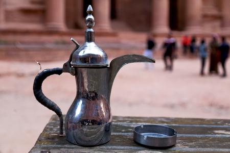 in the site of petra jordan the traditional coffe container isolated on a table