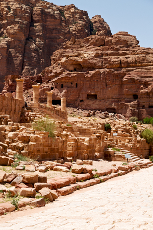 in petra jordan the antique street full of columns and architecture heritage