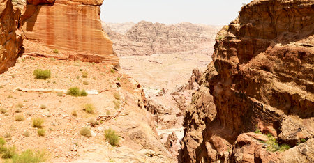 from high  the antique site of petra in jordan the beautiful wonder of the world