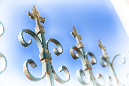 An iron fence in the sky prospective and abstract background