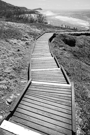 The walkway to the beach of Hervey Bay Fraser Island like paradise concept and relax