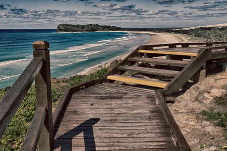 in australia. the walkway to the beach of Hervey Bay Fraser Island like paradise concept and relax