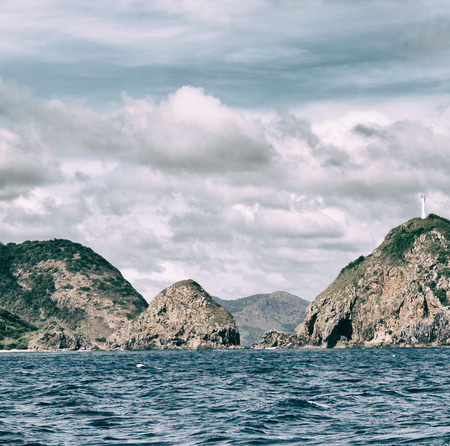 from a boat in philippines. snake island near el nido palawan. beautiful panorama coastline sea and rock
