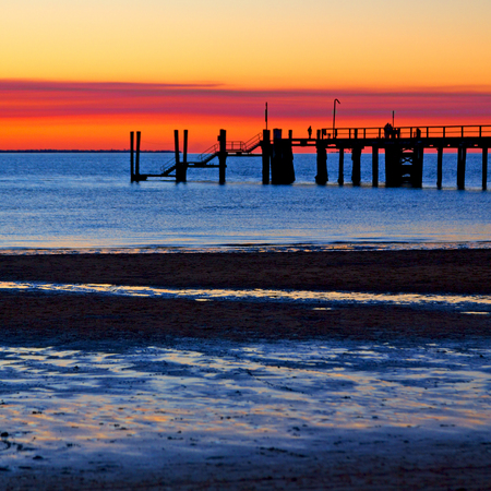in australia the pier beach of Hervey Bay  Fraser Island like paradise concept and relax
