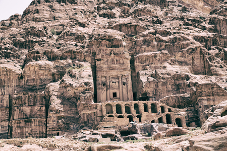 tomb in the antique site of petra in jordan the beautiful wonder of the world Stock Photo