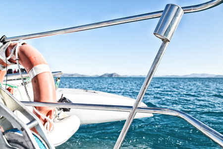 in  australia  the concept of safety in the ocean with  lifebuoy in the boat