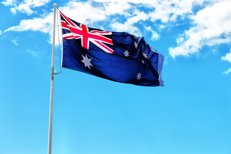 australia in the clear sky  the waving flag  Stock Photo