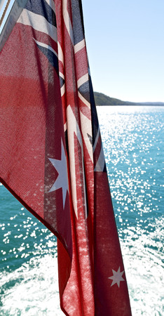 in  australia  the navy flag in the wind Stock Photo