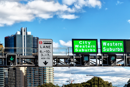 in  australia   sidney the sign and the display of the highway to the city