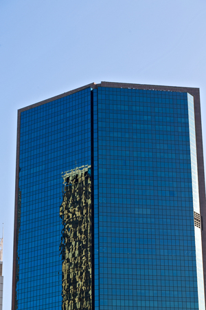 the reflex of the skyscraper in the window in sydney australia