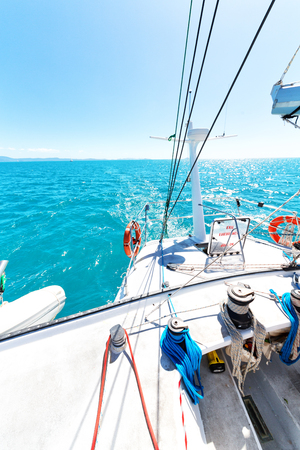 in australia boat and  light     in the catamaran deck concept of sport and relax Stock Photo