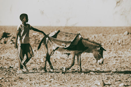 ETHIOPIA,DANAKIL-CIRCA  JANUARY 2018--unidentified  child  walking with his donkey