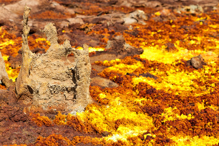 the volcanic depression of dallol in africa, in the land of ethiopia