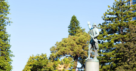 in  austalia  sydney the  antique  statue of captain cook in hyde park Stock Photo - 95674632