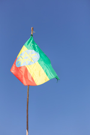 in  ethiopia africa the colorful flag waving in the sky