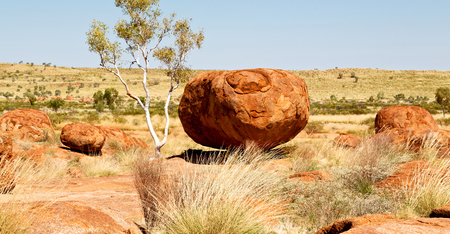 in australia the rocks  of devil s marble in the northern  territory Stock Photo - 95675919