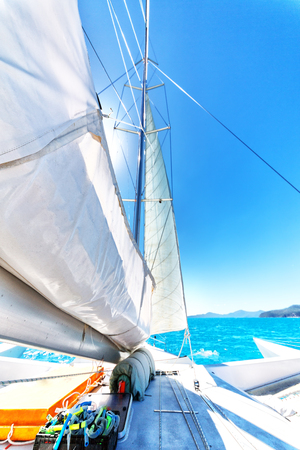 the concept of navigation and wind speed with sailing in australia Stock Photo