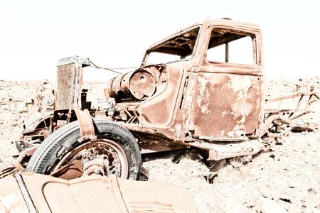 rusty antique car