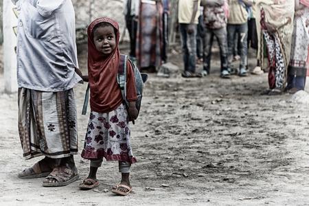 ETHIOPIA,DANAKIL-CIRCA  JANUARY 2018--unidentified   little girl out of islamic school  Editorial