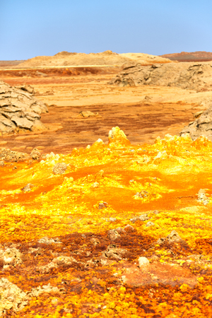 in  danakil ethiopia africa  the volcanic depression  of dallol lake and acid sulfer like in mars Stock Photo