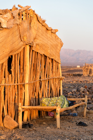 in   ethiopia africa  the poor house of people in the desert of stone Editorial