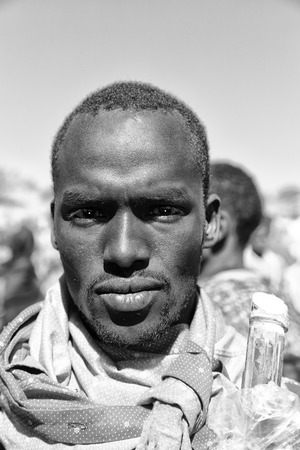 ETHIOPIA,LALIBELA-CIRCA  JANUARY 2018--unidentified young  man  in the genna celebration