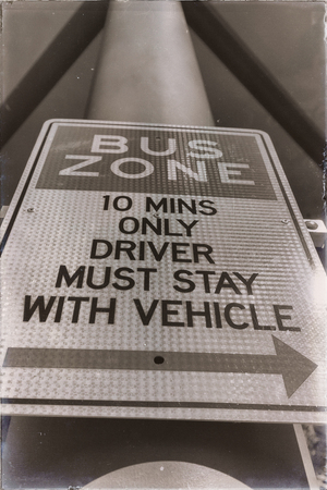 in  australia  an old sygnal of bus zone and instruction  concept of safety Stock Photo