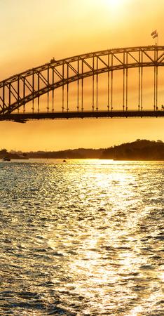 in  austalia  the bay of sydney and the bridge in   sunrise