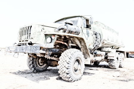 military truck for the water parked in the dirty
