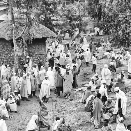 ETHIOPIA,LALIBELA-CIRCA  JANUARY 2018--unidentified people in crowd of  the genna celebration Editorial