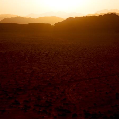 in jordan wadi rum desert the sunrise panoramic scene and light Stock Photo