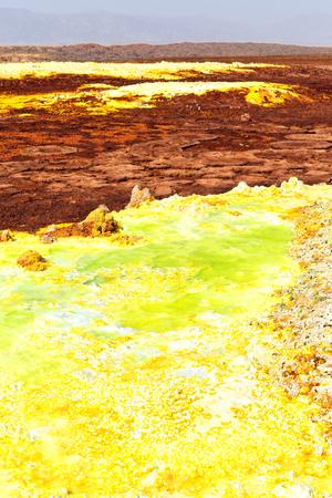 in  danakil ethiopia africa  the volcanic depression  of dallol lake and acid sulfer like in mars Foto de archivo