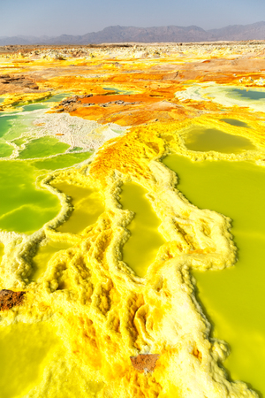 In danakil Ethiopia Africa the volcanic depression of dallol lake and acid sulfur like in mars