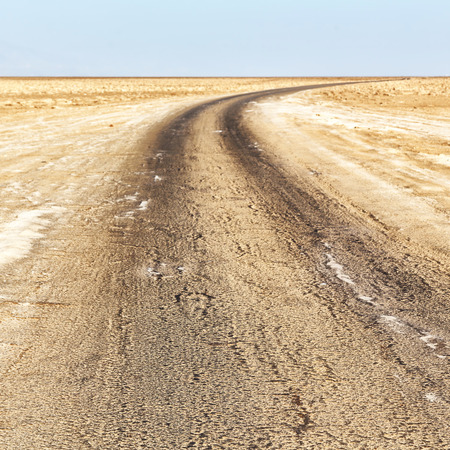 in  danakil ethiopia africa   the  ground and the road in the desert of salt Stock Photo