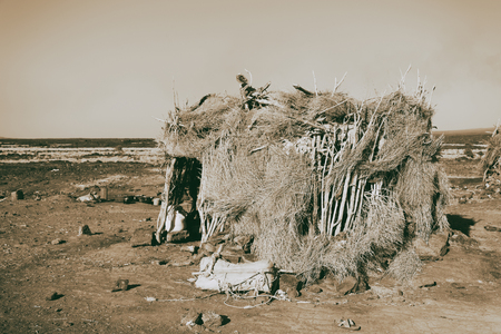 in   ethiopia africa  the poor house of people in the desert of stone 스톡 콘텐츠