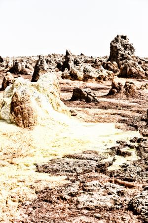 in  danakil ethiopia africa  the volcanic depression  of dallol lake and acid sulfer like in mars Stock Photo